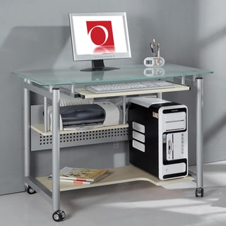 Tempered Frosted Glass Compact Computer Desk