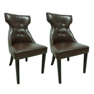 Elegant Brown Faux Leather Parson Dining Chair (Set of 2)