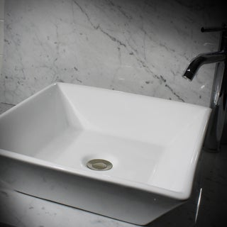 16-Inch Square White Vitreous China Vessel Vanity Sink