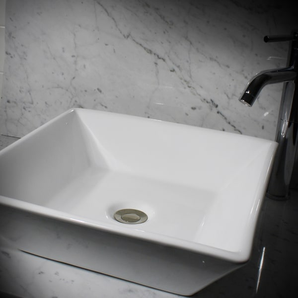 16 Bathroom Sink : Highpoint Collection 16-inch Square White Bathroom Vessel Vanity Sink