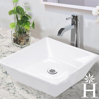 Highpoint Collection 16-inch Square White Bathroom Vessel Vanity Sink