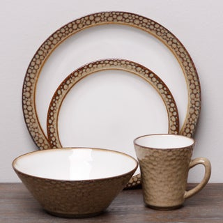 Sango Facets Gold/ White 16-piece Dinnerware Set