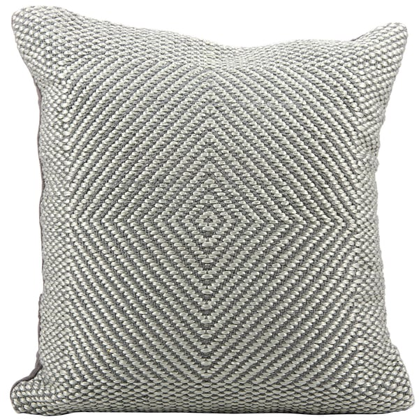 Mina Victory Woven Luster Malai Dori Steel/Grey Throw Pillow (20-inch x 20-inch) by Nourison