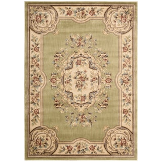 Aubusson Collection Light Green Rug (5'3 x 7'5)