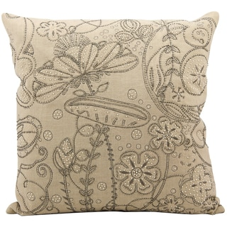 Mina Victory Luminecence Beige Embroidery 20 x 20-inch Decorative Pillow by Nourison