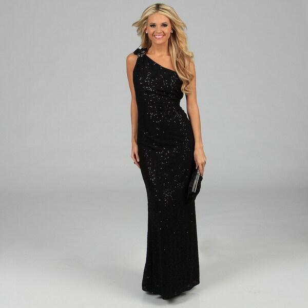 Women's Black Sequin Embellished One-shoulder Gown