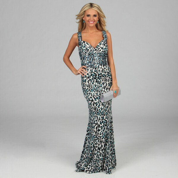 NV Couture Women's Animal Print Criss-cross Beaded Halter Gown