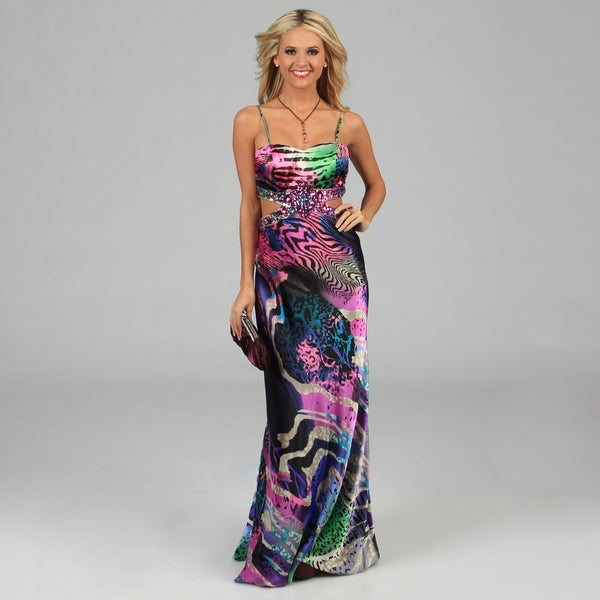 NV Couture Women's Multicolored Cut-out Waist Bead Embellished Dress