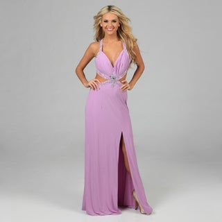 NV Couture Women's Lilac Cut-out Waist Beaded Applique Halter Gown