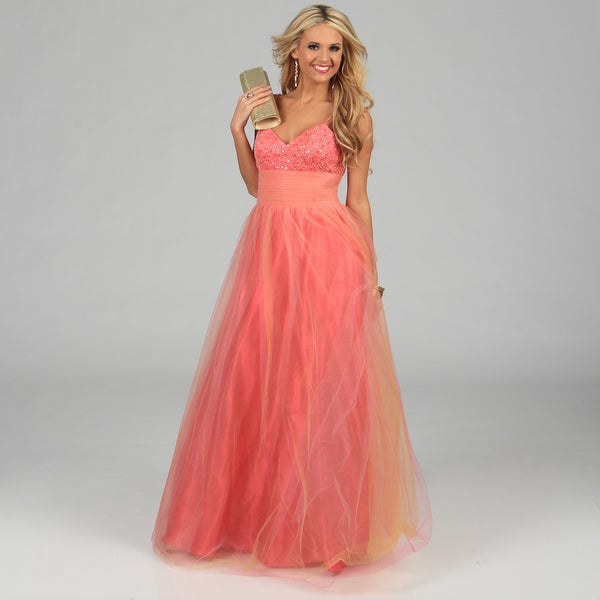 NV Couture Women's Coral Pleated Tulle Ball Gown