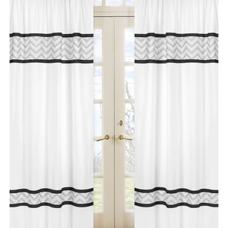 Black/ Grey Zig Zag 84-inch Curtain Panels (Set of 2)