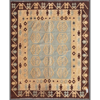Afghan Hand-knotted Mimana Kilim Blue/ Ivory Wool Rug (6'7 x 8')