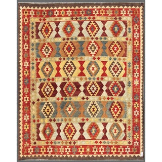 Afghan Hand-knotted Mimana Kilim Red/ Ivory Wool Rug (8'1 x 9'11)
