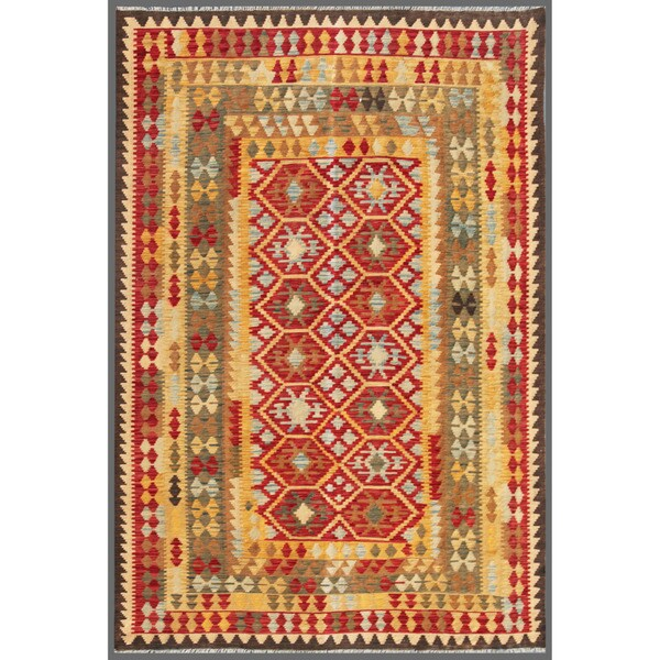 Afghan Hand-knotted Mimana Kilim Red/ Beige Wool Rug (6'7 x 9'7)