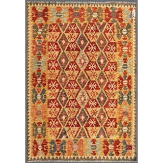 Afghan Hand-knotted Mimana Kilim Red/ Green Wool Rug (5'6 x 7'8)