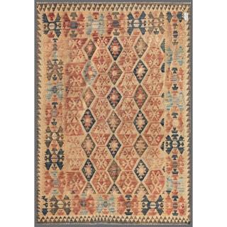 Afghan Hand-knotted Mimana Kilim Red/ Ivory Wool Rug (5'7 x 7'10)
