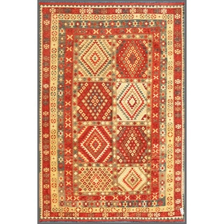 Herat Oriental Afghan Hand-knotted Mimana Kilim Red/ Ivory Wool Rug (7'5 x 10'10)