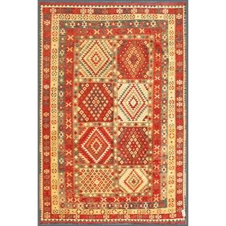 Afghan Hand-knotted Mimana Kilim Red/ Ivory Wool Rug (7'5 x 10'10)
