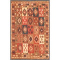 Afghan Hand-knotted Mimana Kilim Brown/ Red Wool Rug (5'8 x 8'6)