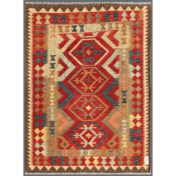 Afghan Hand-knotted Mimana Kilim Red/ Ivory Wool Rug (4'9 x 6'4)