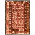 "Afghan Hand-Knotted Mimana Kilim Red/Brown Wool Area Rug (4'10"" x 6'7"")"