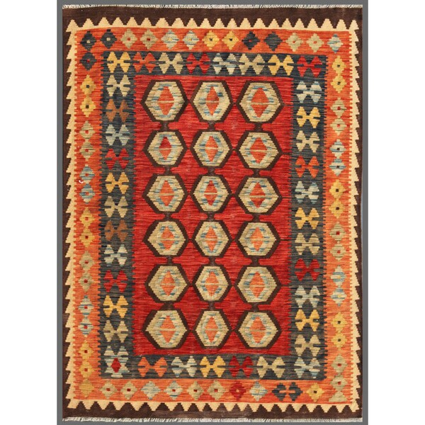 Afghan Hand-knotted Mimana Kilim Red/ Salmon Wool Rug (4'10 x 6'6)