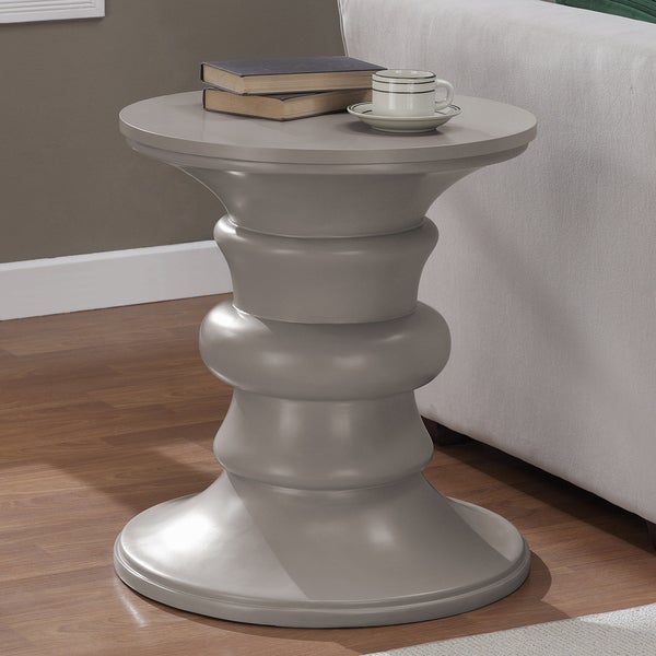 Spool Weathered Brown/ Grey Finish Accent Table