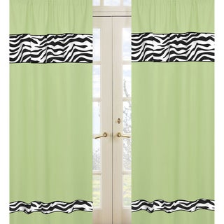 Lime Funky Zebra 84-inch Curtain Panel Pair