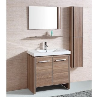 White Resin 31-inch Single Sink Bathroom Vanity with Matching Mirror and Wall Cabinet
