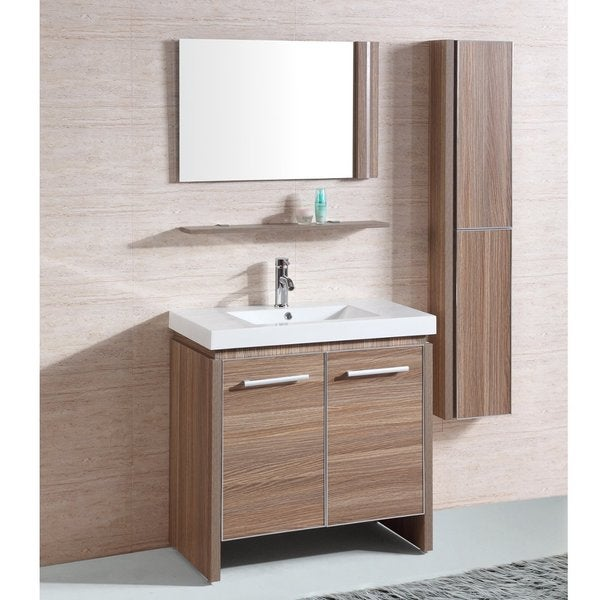 inch single sink bathroom vanity with matching mirror and wall cabinet