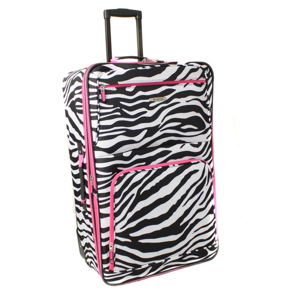 Rockland Deluxe Pink Zebra 24-inch Expandable Rolling Upright Suitcase