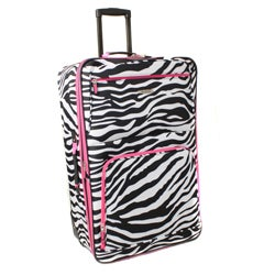 Rockland Pink Zebra 24-inch Expandable Rolling Upright Luggage