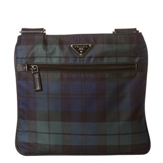 Prada Blue/ Green Plaid Nylon Cross-body Bag
