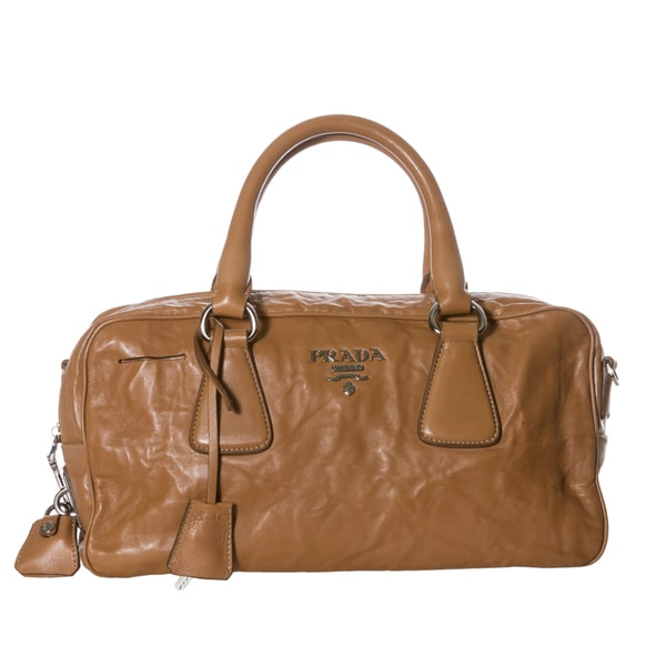 Prada Tan Nappa Antique Leather Satchel