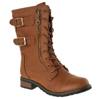 Riverberry Women's 'Battle-02' Chestnut Combat Boots