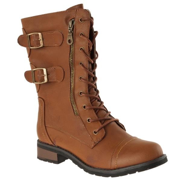 Riverberry Women's 'Battle-02' Chestnut Combat Boots