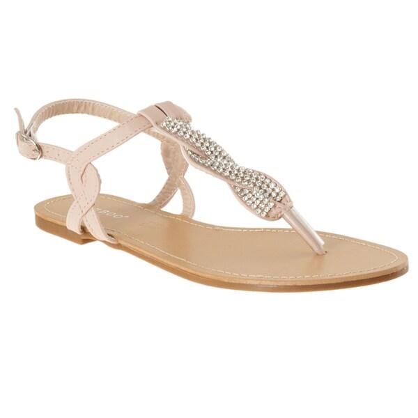 Riverberry Women's 'Armin-01' Nude Rhinestone T-strap Sandals