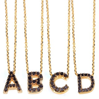 Annello Yellow Gold Black Diamond Accent Mini Initial Letter Necklace