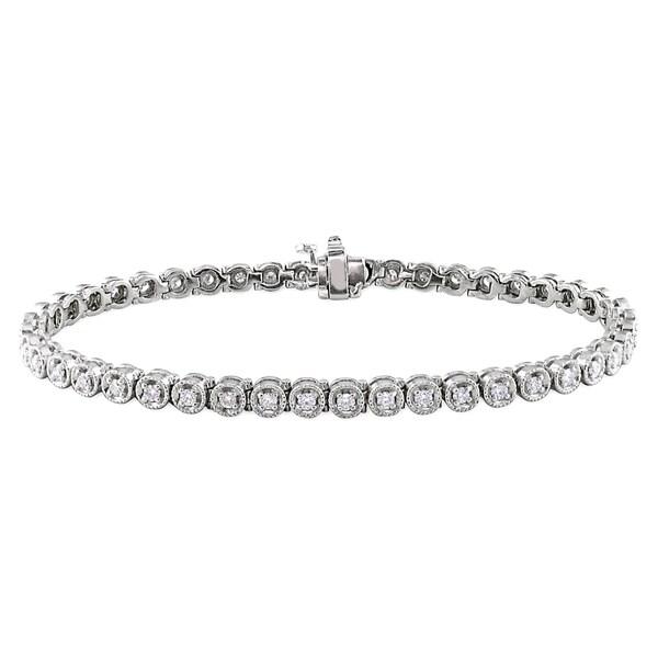 Miadora Signature Collection Miadora 14k White Gold 1 1/6ct TDW Diamond Bracelet (G-H, SI1-SI2)