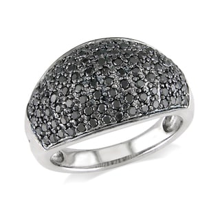 Miadora 14k White Gold 1ct TDW Black Diamond Pave Ring