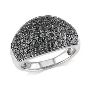 Miadora 14k White Gold 1ct TDW Black Diamond Pave Ring