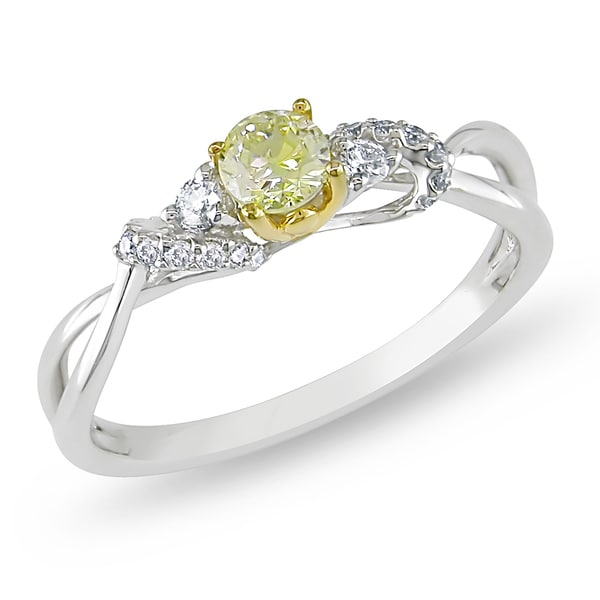 Miadora 14k Gold 2/5ct TDW Yellow and White Diamond Ring (G-H, I1-I2)