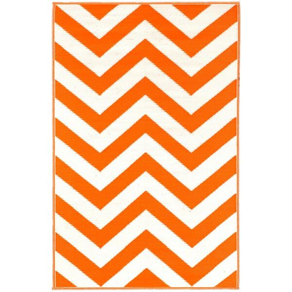 Prater Mills Orange and White Indoor Outdoor Rug