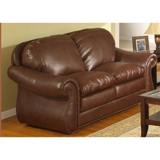 Stanley Tobacco Brown Bonded Leather Loveseat