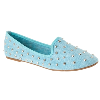 Riverberry Women's 'Kiwi' Studded Blue Canvas Shoes