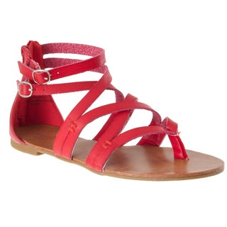 Riverberry Women's 'Laguna' Red Lizard-print Gladiator Sandals