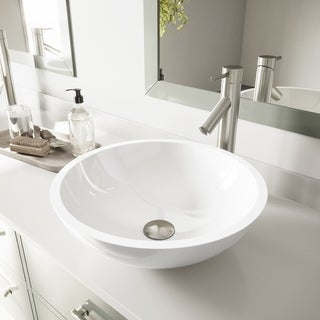 VIGO Flat Edged White Phoenix Stone Glass Vessel Bathroom Sink