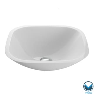 VIGO Square Shaped White Phoenix Stone Glass Vessel Bathroom Sink