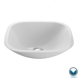 VIGO Square Shaped White Phoenix Stone Glass Vessel Bathroom Sink