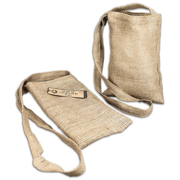 "Burlap Medium Shoulder Bag 8-1/2""X13"""